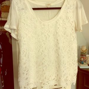 White lace J. Crew shirt M